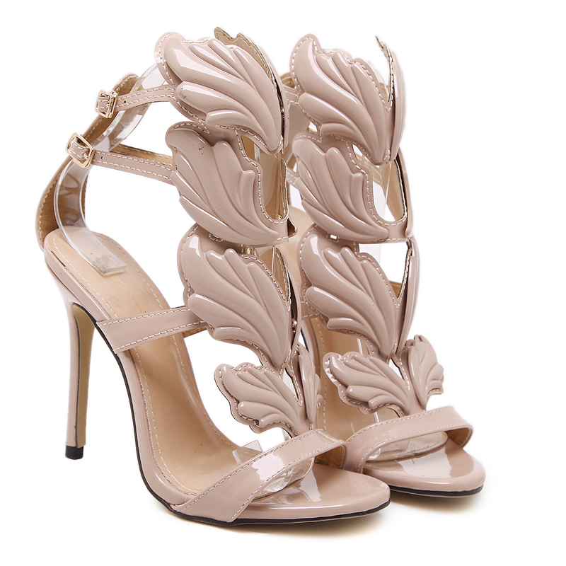 35030f647c224d Hot sell women high heel sandals gold leaf flame gladiator sandal shoes  party dress shoe woman patent leather high heels-in Women s Pumps from Shoes  on ...