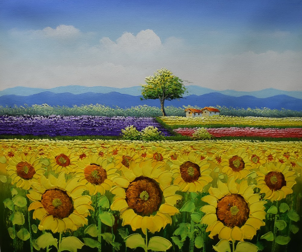 Hand painted canvas painting beautiful flower oil painting modern hand painted canvas painting beautiful flower oil painting modern sunflower farm landscape wall picture painting for living room in painting calligraphy izmirmasajfo