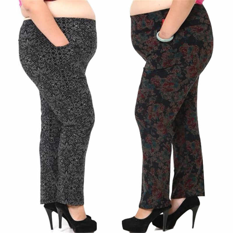 Women Pants 2020 Winter Pantalon Large Femme Capri Printed Trousers Elastic Waist Plus Size 3XL-6XL Middle Age Trousers JF265