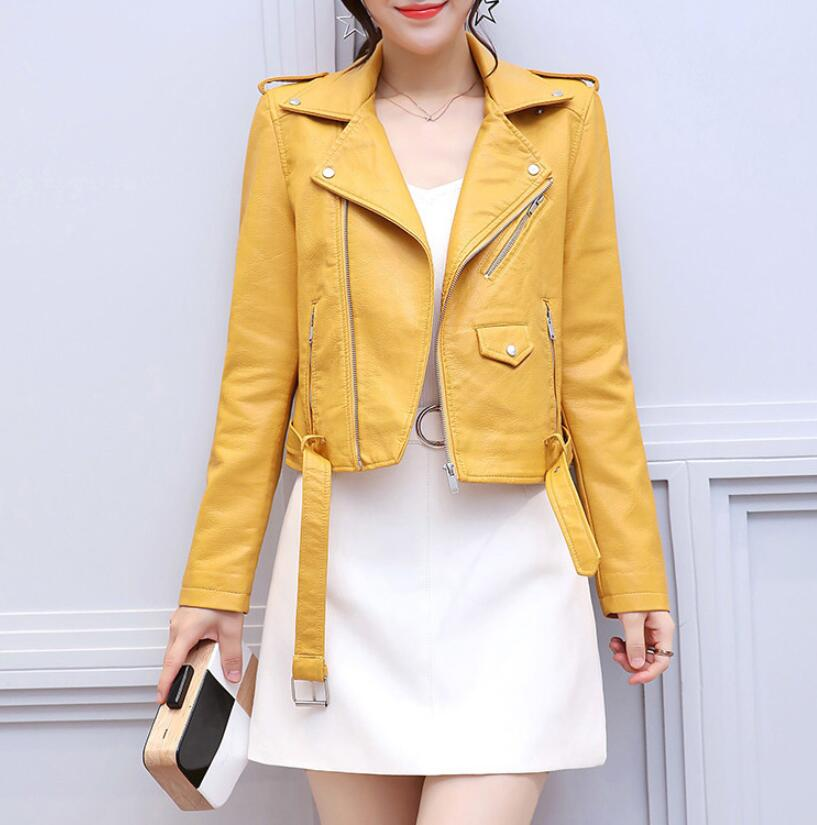2019 new ladies jacket Slim motorcycle Soft faux pu   leather   fashion Tight outwear women's clothing plus high quality coat belt