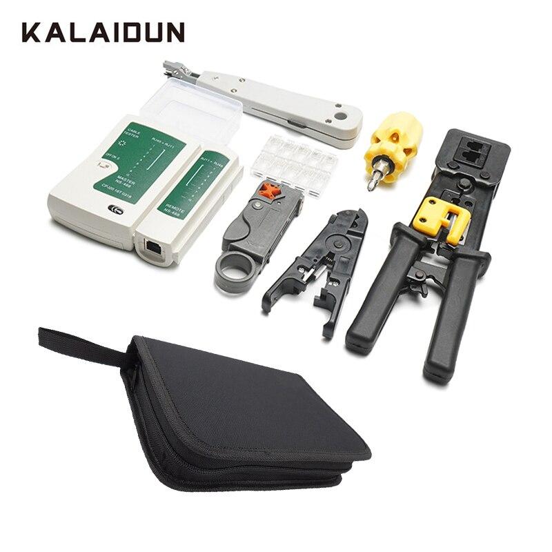 KALAIDUN RJ45 RJ11 LAN Kit d'outils de réparation réseau testeur de câble pince à dénuder pince à sertir pince tournevis entretien de l'ordinateur
