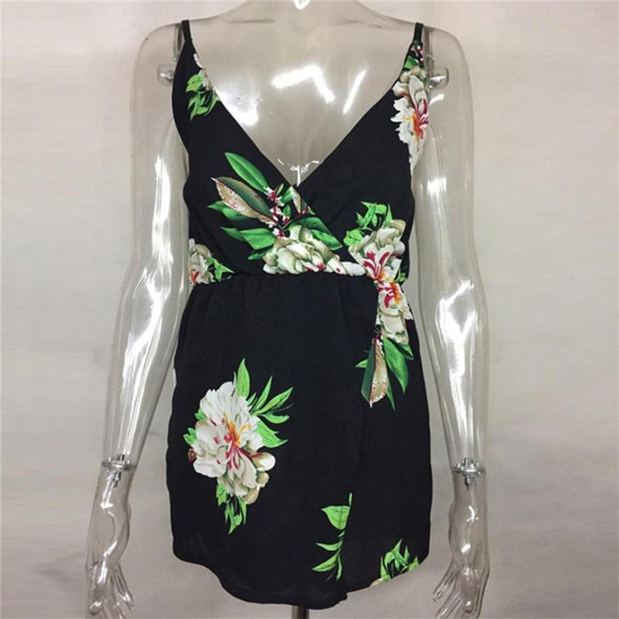 sleeveless short jumpsuit floral prints overalls for women playsuit shorts monos de verano para mujer 0S8627 dropship