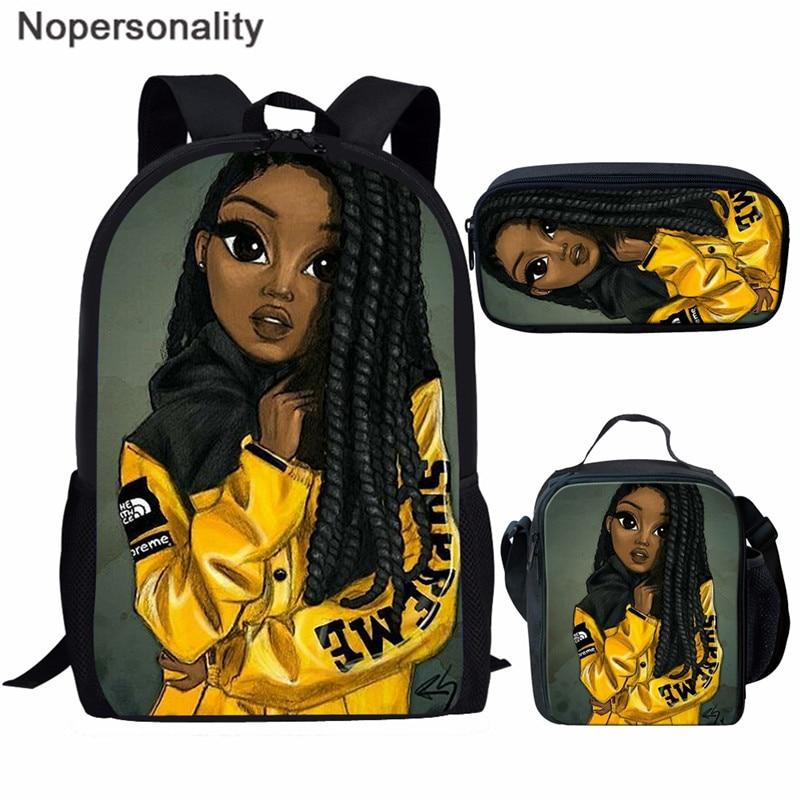 Nopersonality Siyah Kraliçe Afro-amerikan Kız Baskı okul çantası Seti Genç Kızlar Bookbag Çocuk Çocuklar Okul Çantaları