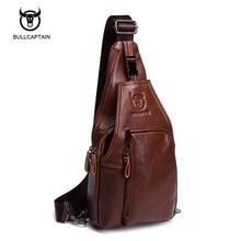 Bullcaptain Genuine Leather Men Bag Brand Handbag Men Chest Pack Messenger Shoulder Bag Belt Waist Bag Travel  Crossbody Bag