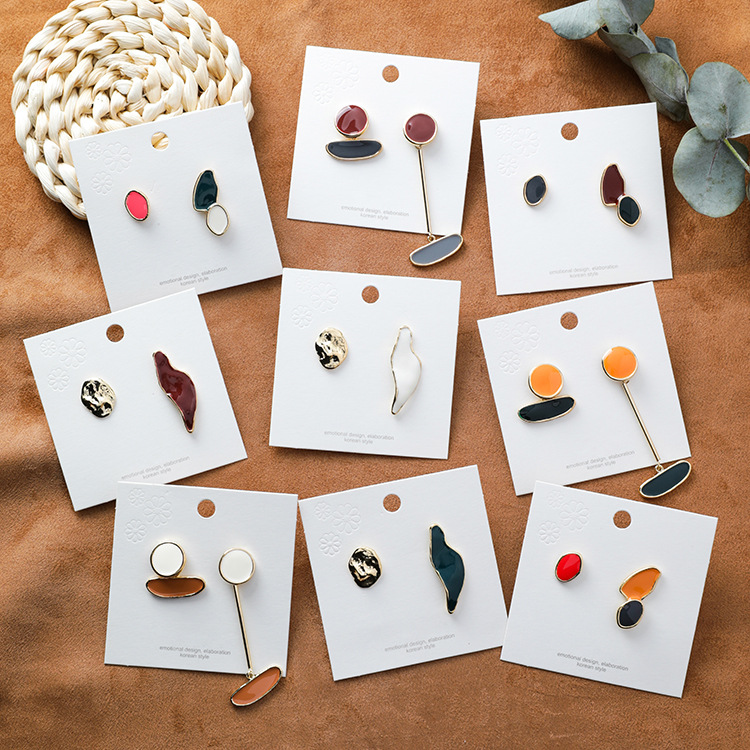 New Design Vintage Colorful Enamel Irregular Geometric Asymmetric Oval Round Long Stud Earrings For Women Girl Jewerly Gifts