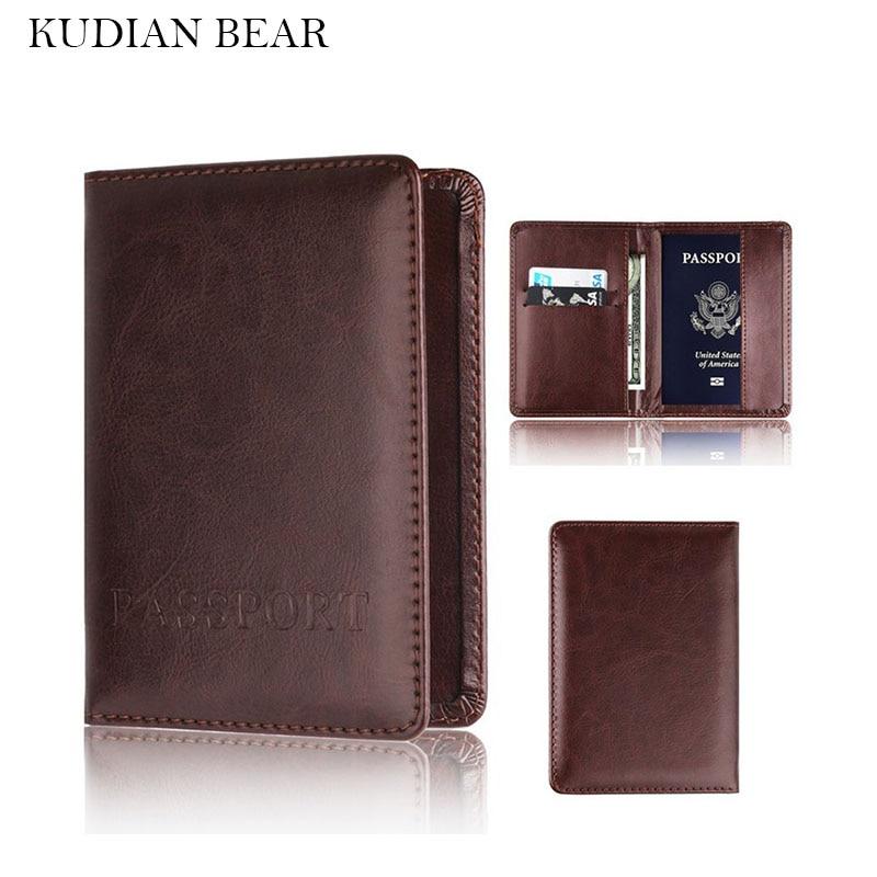 KUDIAN BEAR Brand Passport Cover Women Passport Holder Designer Travel Cover Case Minimalist Credit Card Holder BIH023  PM49