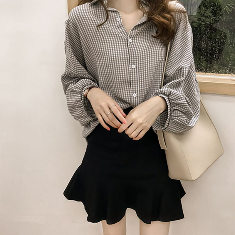 Female Blusas Spring Autumn   Blouse   Office Lady Slim Black   Shirts   Women Lantern Long Sleeve   Blouses   Plus Size Tops Casual   Shirt