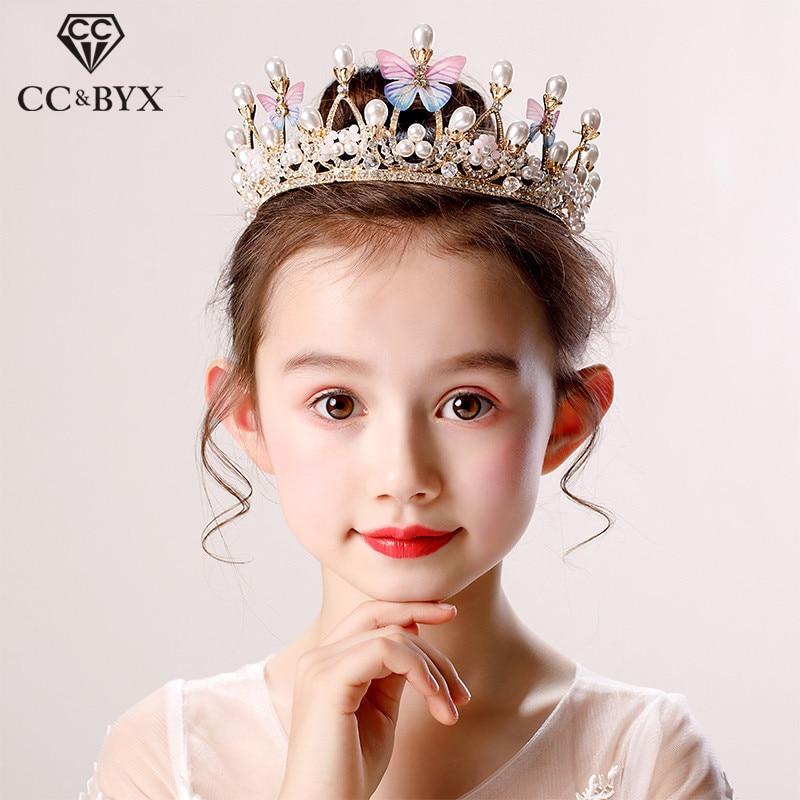 CC Детские обручи для волос тиары и корона с бабочкой и жемчугом аксессуары для волос для девочек принцесса на день рождения Роскошный прекр...