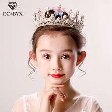 CC Children Hairbands Tiaras And Crown Butterfly Pearl Hair Accessories For Girls Princess Birthday Party Luxury Fine Gift su073