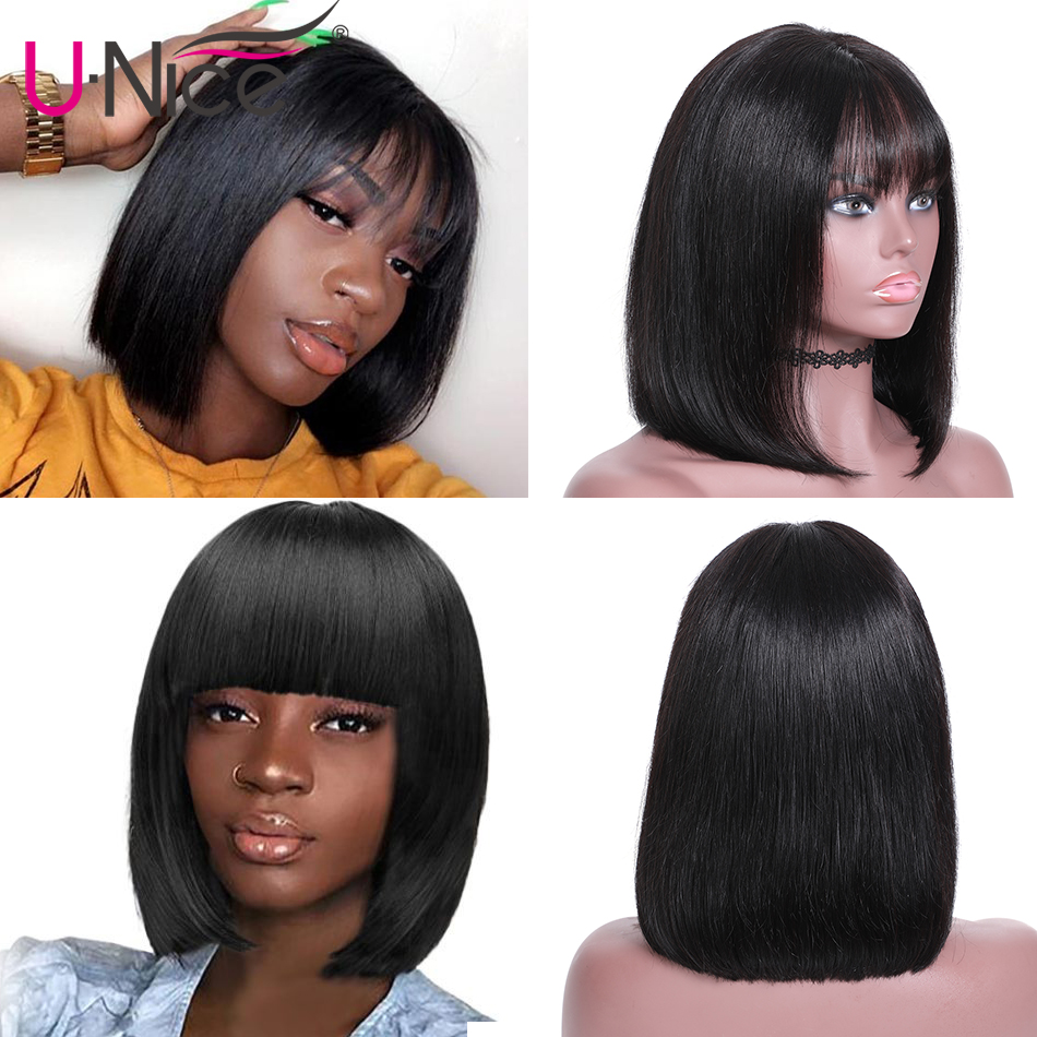 HTB1k .uUVzqK1RjSZFoq6zfcXXat Unice Hair Short Lace Front Human Hair Wig Brazilian Remy Hair Bob Wig with Bangs Lace Wig Natural Hairline For Black Women