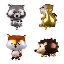 1pcs Cartoon Animals Aluminium Foil Balloons Little Fox Hedgehog Raccoon Squirrel Balloon for Kids Birthday Party Decor Supplies