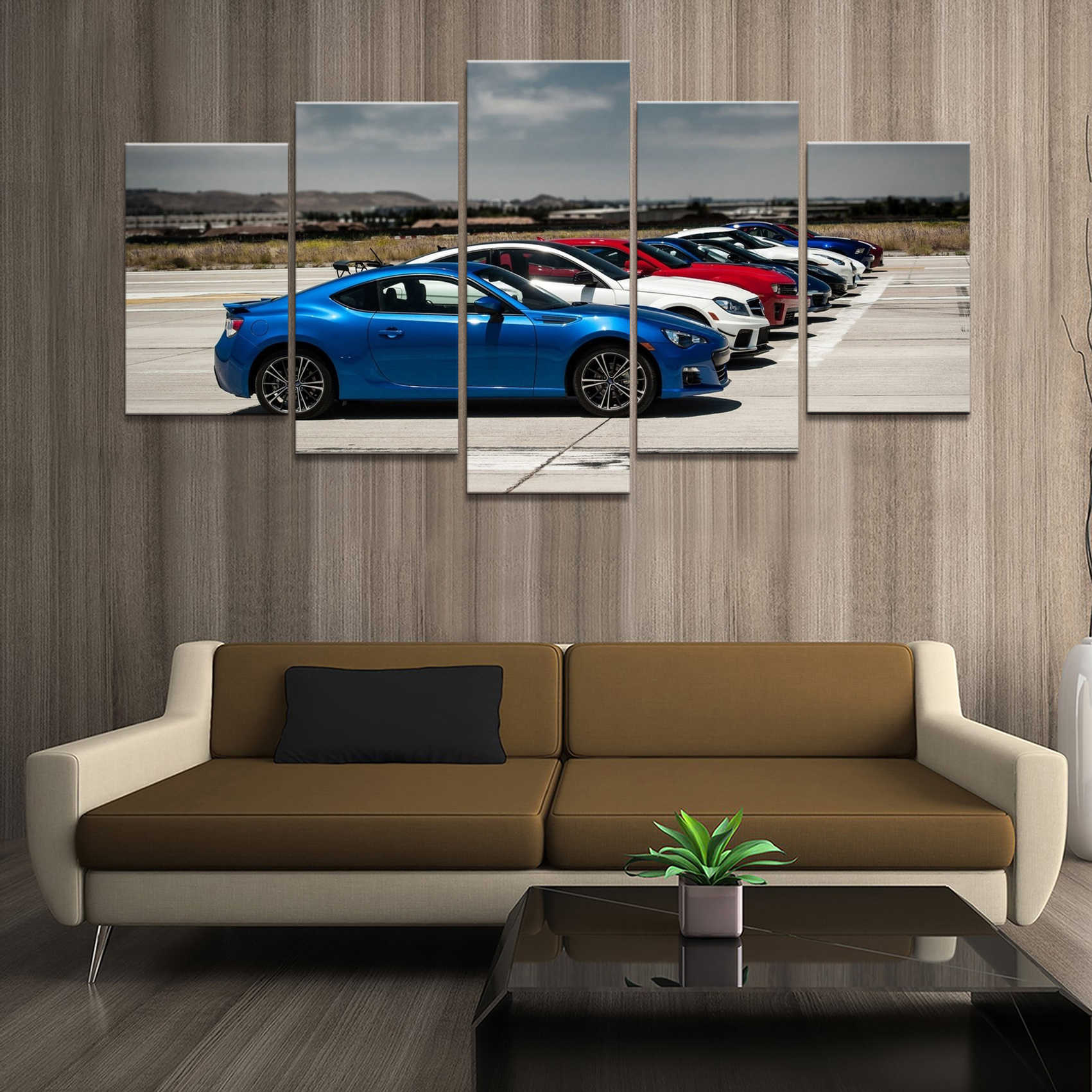 Home Decor Poster HD Pictures Prints Canvas 5 Piece Modular Car Starting Line Scenery Living Room Art Decorative Painting Framed