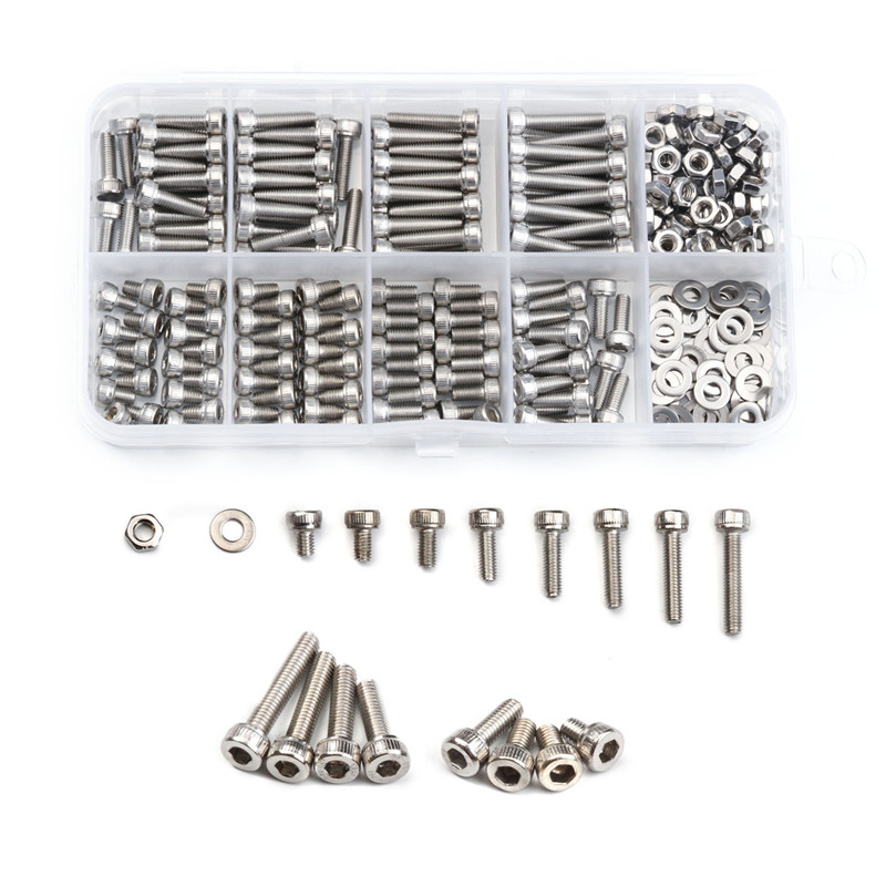320Pcs Hexagon Socket Head Cap Screws Bolts Set 304 Stainless Steel M3 Bicycle Hex Bolts Nut Flat Washer Kit with Plastic Box factory direct sales stainless steel hexagon socket head cap screw single coil spring lock washer and plain washer assemblies