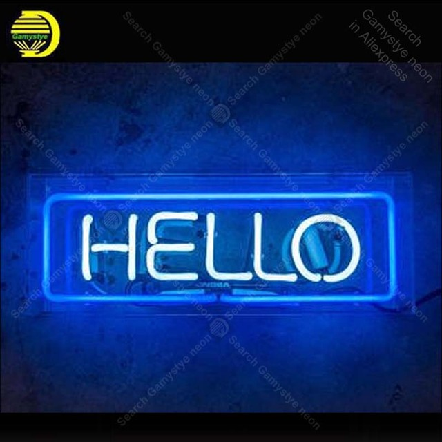 Neon Sign HELLO Neon Signs for Restaurant Glass Tubes Neon Bulbs decorate Room wall Handcraft in Acrylic Box hot sale