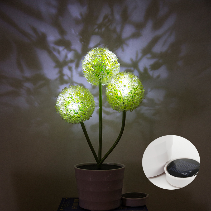 Solar Power Flower 3 Led Light Garden Yard Path Outdoor