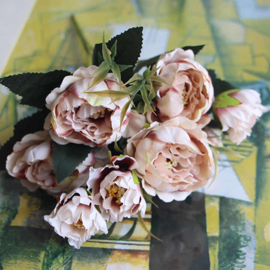 Lusuh Chic Buket Eropa Pengantin Cantik Pernikahan Kecil Peony Sutra Bunga dengan Harga Murah Mini Bunga Palsu untuk Dekorasi Rumah Dalam Ruangan