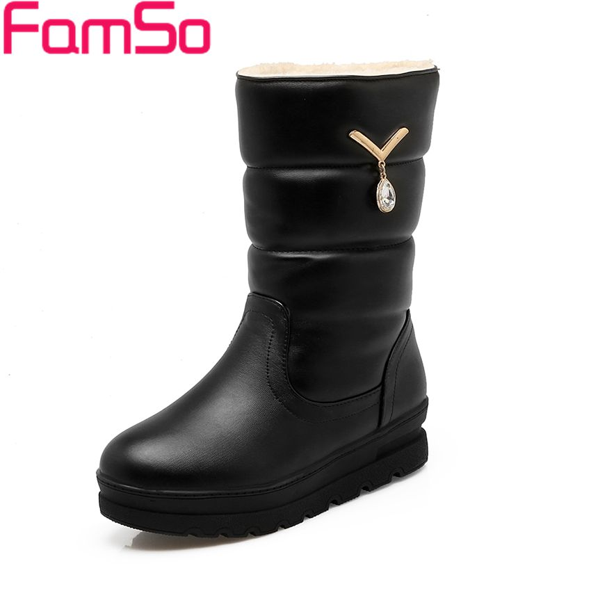 Size 34 43 2016 New Shoes font b Women b font Boots black Mid Calf Riding