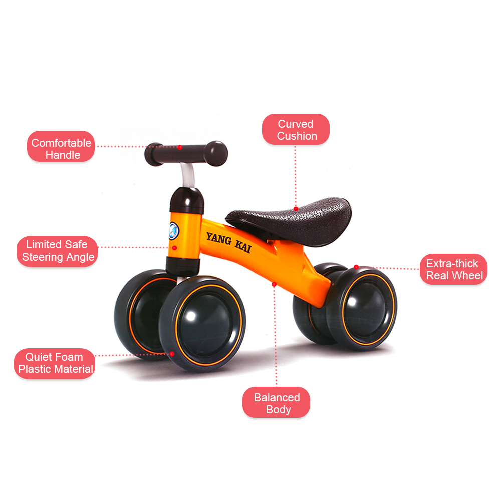 12 Inch Balance Bike Toddler Without Pedals For 1 – 5 Year Old - Red, Orange 2