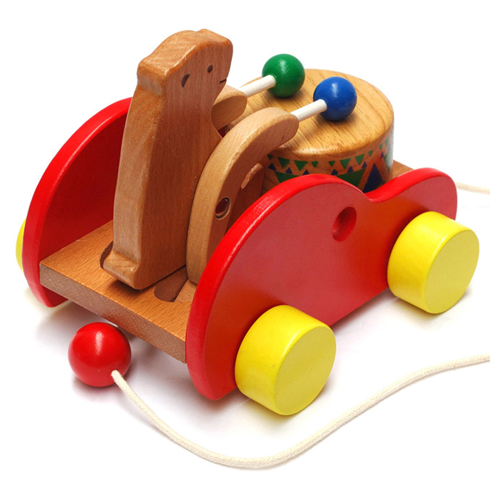 Wooden Learning Toys : Safe baby kid toy cubs beat drums early learning