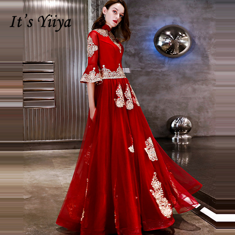 It's YiiYa   Evening     Dress   2018 Vintage Red Gold Embroidery Beading Flare Sleeve A-line Dinner Gowns LX1285 robe de soiree
