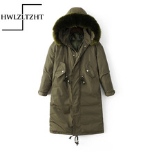 HWLZLTZHT Women Winter Thicken Parka Down Coats Fashion Long Plus Size Big Fur Collar Parka Jacket Long Sleeve Outerwear Coat
