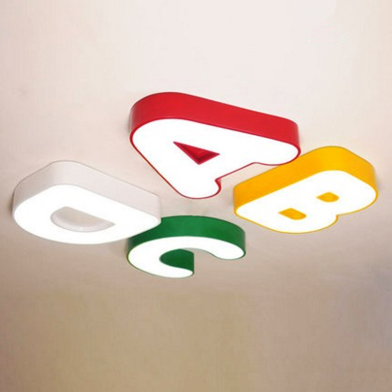 Modern creative colorful iron A/B/C/D children bedroom LED ceiling lamp home deco kid's room acrylic ceiling light fixture почтовая карточка дарите счастье russia unforgettable 10 х 15 см