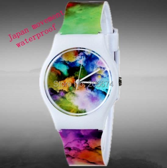 Nya Student Cloud Print Mönster klockor Anime Jelly Armbandsur Kvinna Digital Quartz Watch Barn klocka relogios feminino