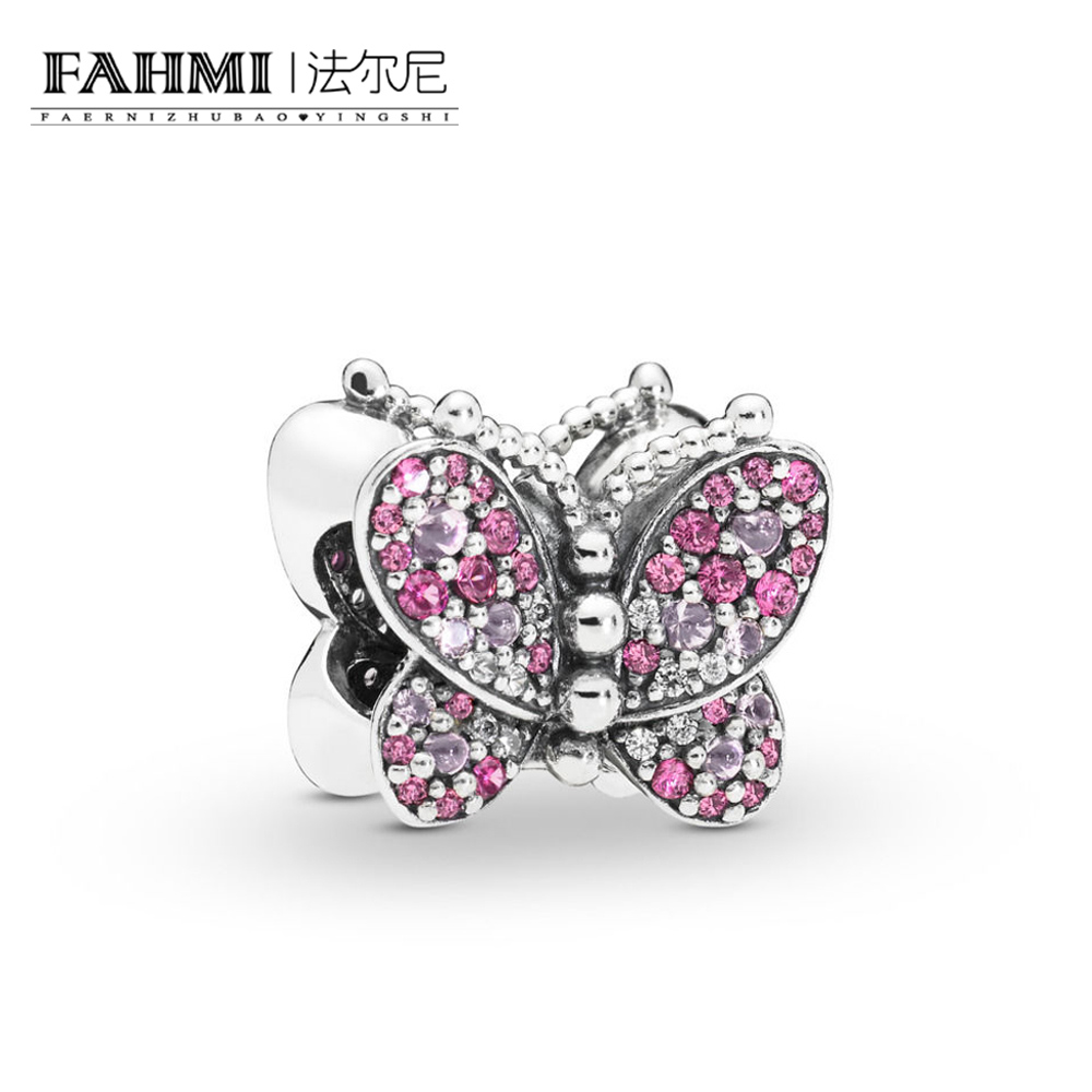 FAHMI 100% 925 Sterling Silver New 2019 Spring 797882NCCMX Dazzling Pink Butterfly Charm DIY Bracelet Advanced Products