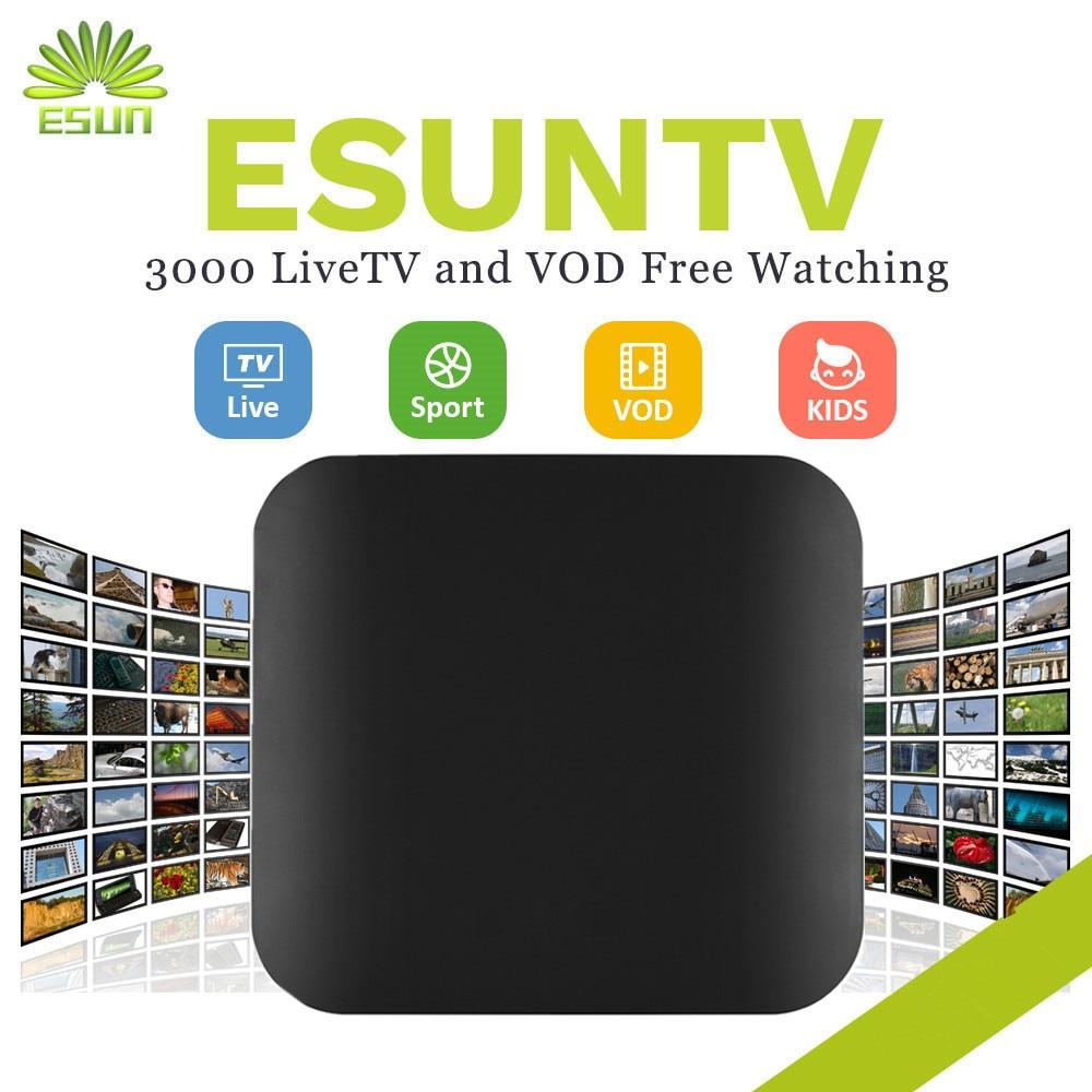 ESUNTV 1 Year FREE IPTV included Android TV Box 2/16G Europe IPTV Spain  Portugal tv America IPTV Set top box Sweden Albania IPTV