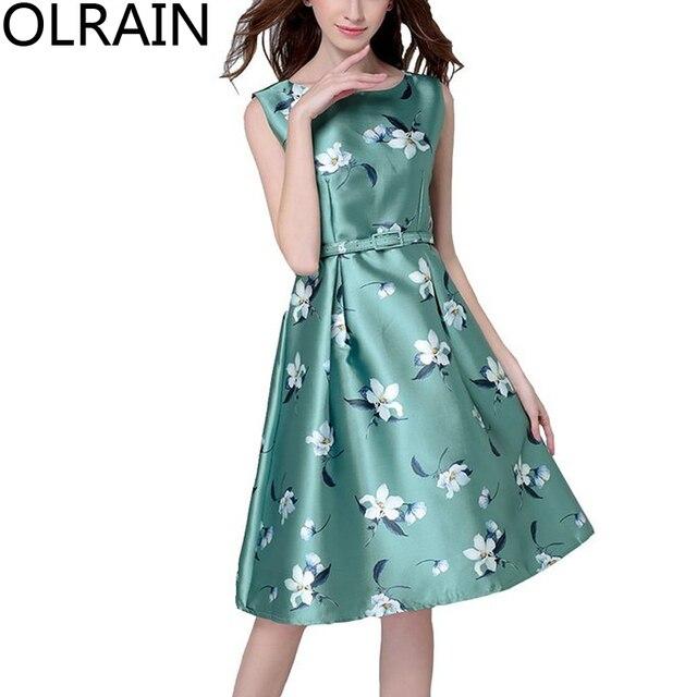 Olrain Women Sleeveless Vintage Elegant Floral Print A-Line Tea Dress  Evening Party Dress Free Belt 978604f15803