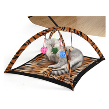 Portable indoor cat tent with hanging mouse & toys