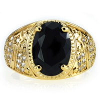 Brand New High Quality CZ Diamond Mens Rings Gold Filled 2016 Fashion Figure Ring Black Stone
