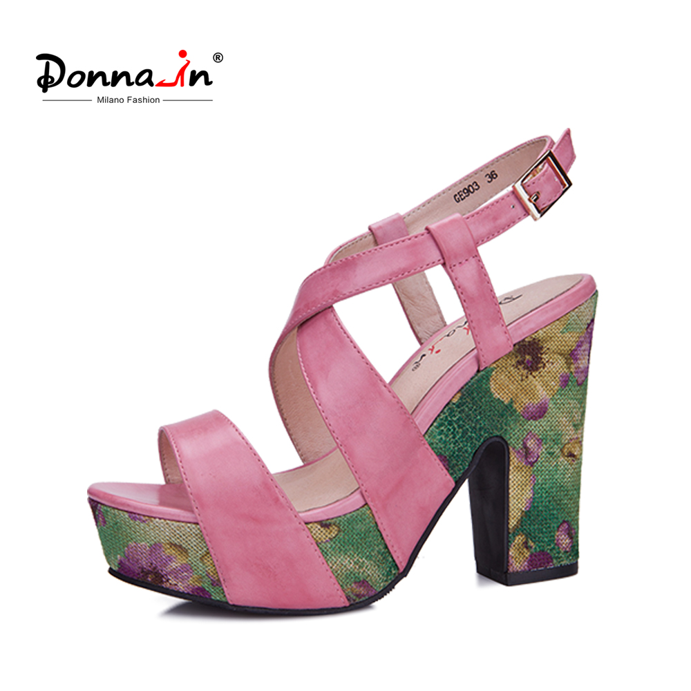 Donna-in women genuine leather sandals cross strap heels floral print platform sandals fashion ladies shoes for summer donna in 2018 women genuine leather slipper platform high heels sandals ladies shoes thick heel casual slippers fashion styles