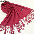 SexeMara Luxury Scarf Women Thin Wool Cashmere Shawls and Scarves Top Quality Solid Color Pashmina Winter Scarf Woman AW22
