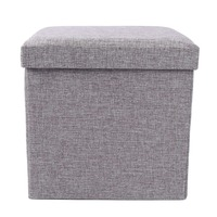Pure Color Imitation Linen Cardboard Storage Box 2 in 1 Home Use Organizing Box and Stool