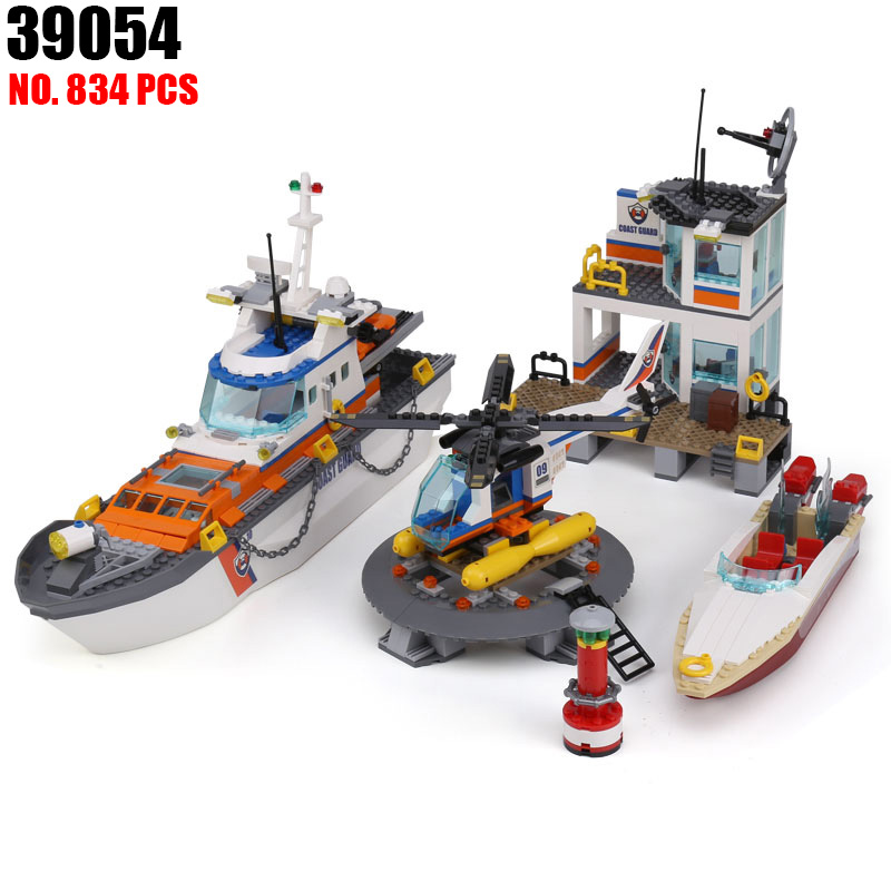 39054 834Pcs City Series Police Coast Guard Headquarters Base Building Blocks Toy With DIY Educational Toys Compatible 60167 цена и фото