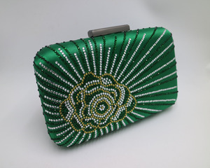Image 3 - Новинка, темно зеленая/фиолетовая большая атласная коробка для шелка, клатч и вечерние сумки с цветами для женщин, вечерние свадебные платья для выпускного вечера