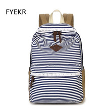 Backpack Striped Canvas Women Preppy Style School Bag For Teenage Girls Cute Large Capacity Flamingo Laptop Travel Bagpack Bags