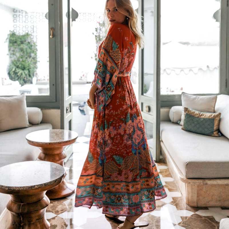 2018 New Bohemian Floral Printing Kimono Dress Buttons Front V-neck Sashes Wrap Summer Dresses Red Vintage Long Maxi Boho Dress