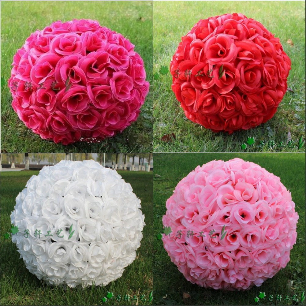 Silk christmas ornaments - 12 Inch Elegant Artificial Silk Rose Flower Kissing Ball 7 Colors For Wedding Christmas Ornaments Party Decoration Supplies