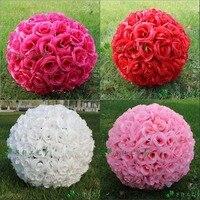 12 Pouce Élégant de Soie Artificielle Rose Fleur Baisers De Boule 7 Couleurs Pour Le Mariage De Noël Ornements Décoration de Fête Fournitures