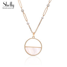 Natural Shell Necklaces & Pendants Round Pink Color Shell Pearl Beads Chain Long Necklace for Women DIY Fashion Jewelry(China)