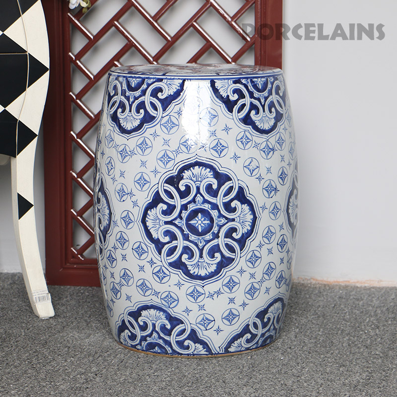 Chinese Blue And White Hand Carved Porcelain Garden Stools Ceramic(China)