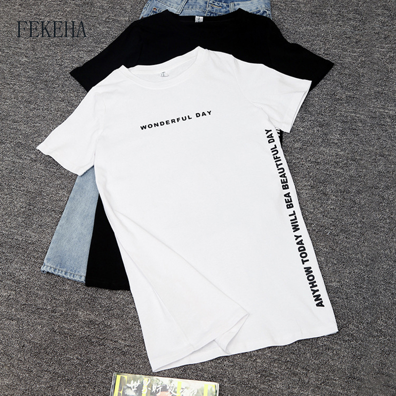 FEKEHA Summer T-Shirt Women Side Split Sexy Long T Shirt Women 2019 New Letter Print Black White Cotton Harajuku Tops