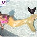 Kids Mermaid Tail Cosplay Sirena Colas para Nadar Niñas Cosplay Navidad Set Piscina Mermaid Tail + Negro Monoaleta