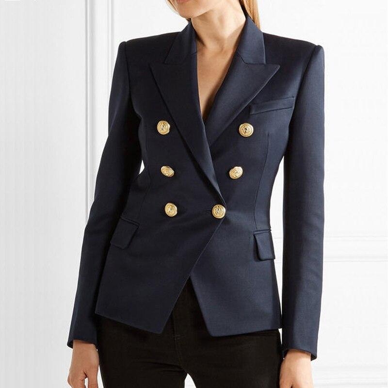 Breasted Boutons Profond Survêtement Blue 2017 Automne Doré Femmes Nouveau Mode Blazer Bleu Slim Métal Femme Coupe Deep Jc1478 Printemps Double Nw0m8nPyvO