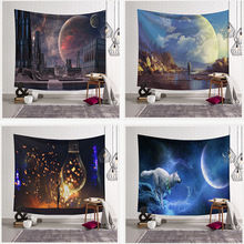 Digital Print Tapestry Wall Blanket Beach Towel, Moon Sky Bohemia Mandala Floral Carpet Wall Hanging Tapestry Wall Decoration