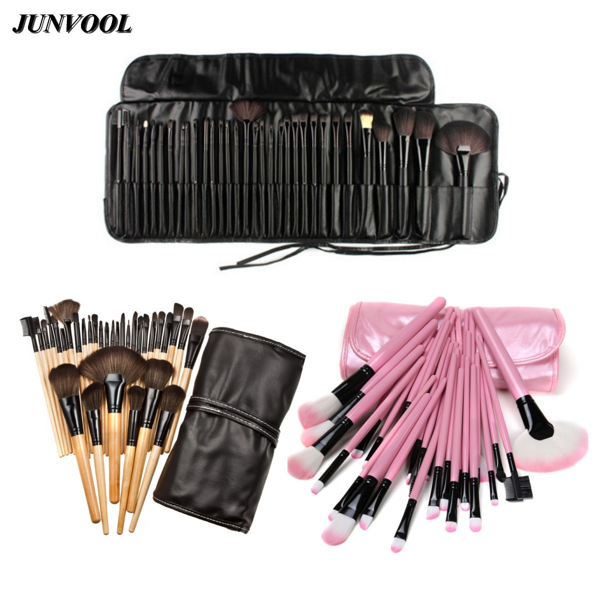 32pcs Mini Pro Makeup Brushes Set&Ke Soft Synthetic Hair Make Up Tools Cosmetic Beauty Pink Wood Black Brush+ 1 Leather Bag Case addfavor acrylic handle beauty cosmetic face clean mask brushes eyes skin care make up tools soft makeup synthetic hair brush