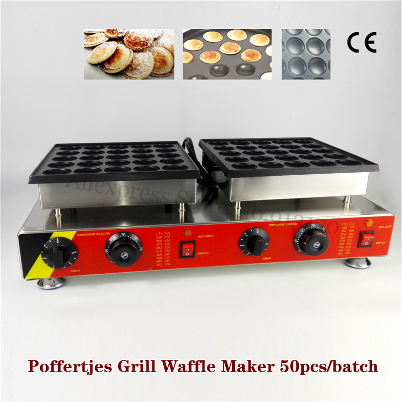 50 Holes Dutch Poffertjes Machine Mini Pancake Puffs Grill Waffle Baker Maker 110V 220V for Dining Room Coffee Shop Restaurant double pans small pancake machine poffertjes machine with non stick pan poffertjes grill waffle maker with 50 pcs moulds