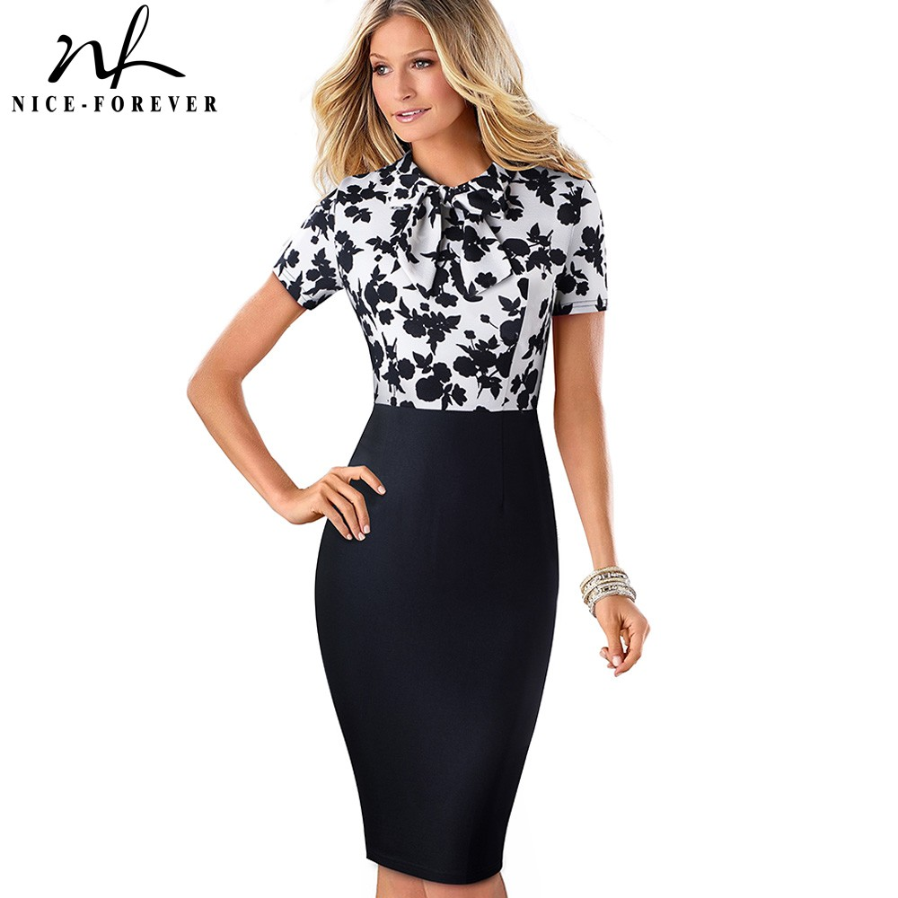 Nice-Forever Elegant Floral Patchwork Business Turn-Down Collar Vestidos Formal Work Office Bodycon Women Female Dress B535